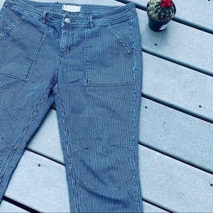 Free People Striped Moto Jeans 31